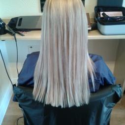 Straight hair cut, no split ends.